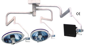 Shadowless Operation Theatre Light ceiling twin dome with built-in Camera and LCD arm (SLP-311010)
